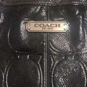 Large black patent Coach tote🥰